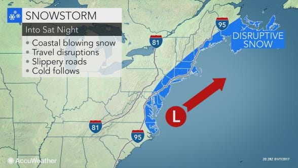 Snow is expected to fall in the Lower Hudson Valley well into Saturday night.