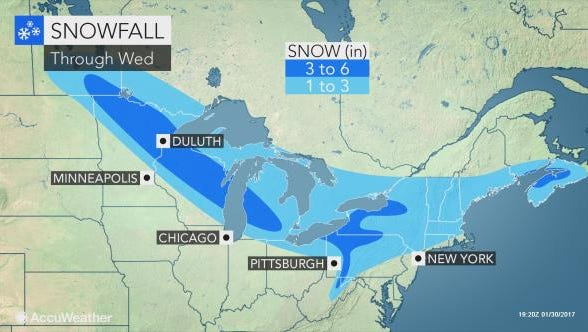 Tuesday's storm could deliver a coating to three inches across the area.