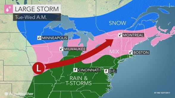 A storm involving rain and snow is expected to hit the Lower Hudson Valley.