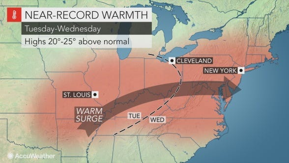 Record temperatures are expected to heat the Lower Hudson Valley on Wednesday.
