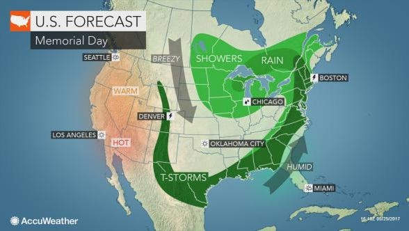 Memorial Day is expected to be rainy in the Lower Hudson Valley.