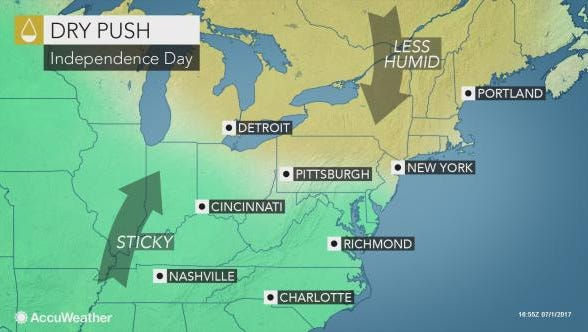 It's expected to be dry, sunny and warm through July 4th.