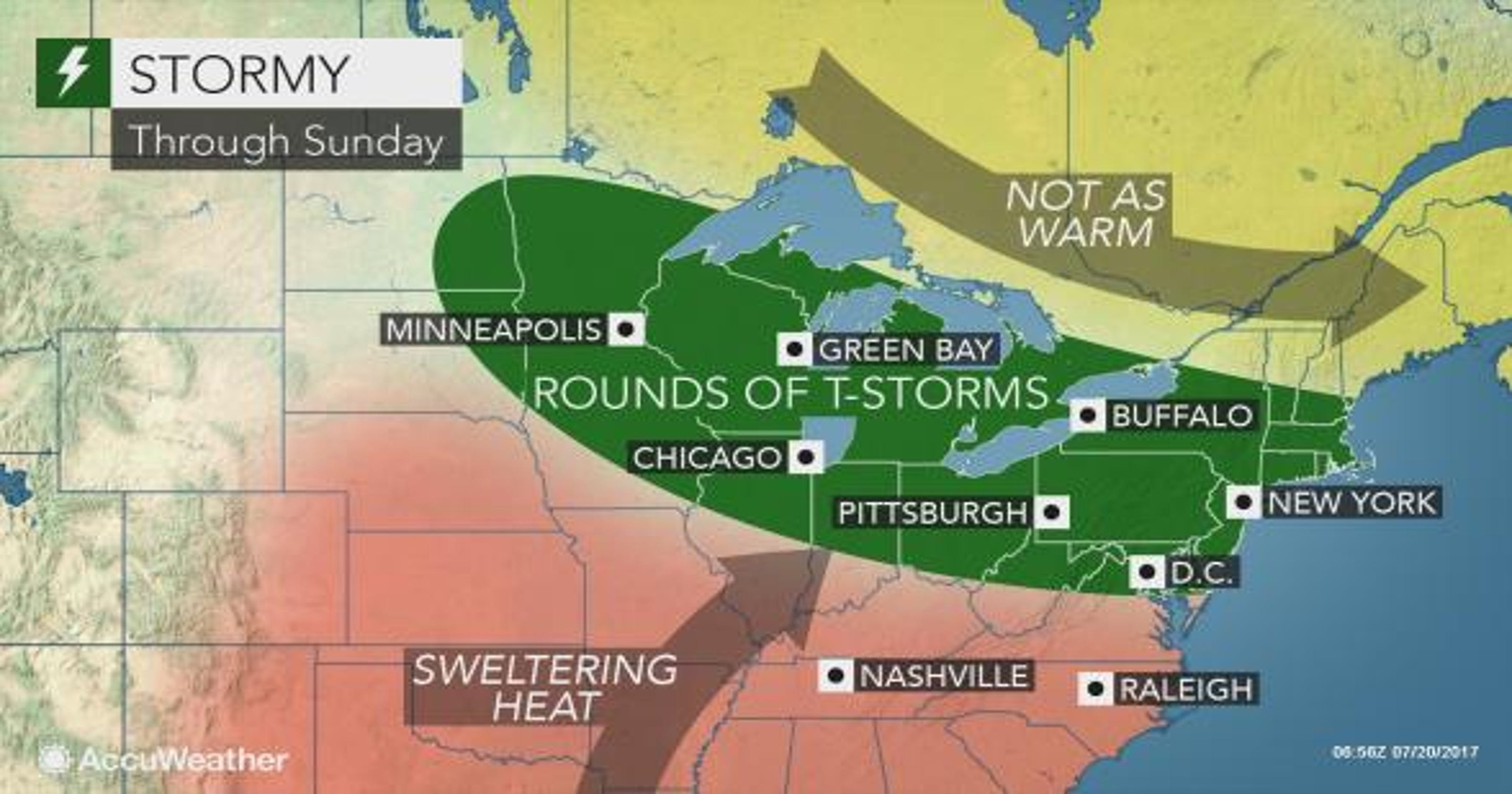 Weather: Sweltering day predicted before potential storms