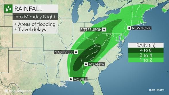The mid-Atlantic and New England are likely to receive 1-3 inches of rain through Monday night.