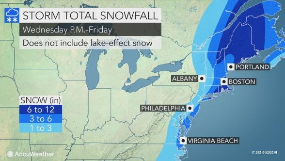 York County could see some light snow from a nor'easter in the Atlantic Ocean.