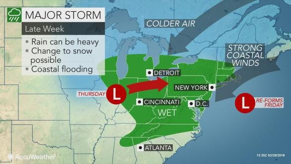 Nor'easter conditions could hit the East Coast on Friday.