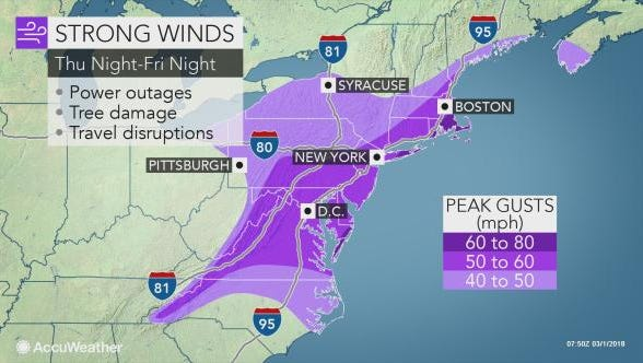 Central Pennsylvania will see strong winds Friday as a storm moves through the area.