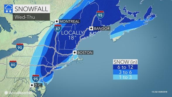 A nor'easter is expected to bring snow to eastern Pennsylvania Wednesday and Thursday.