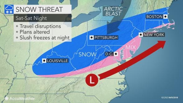 Southcentral Pennsylvania could wake up to another spring snowstorm on Saturday.