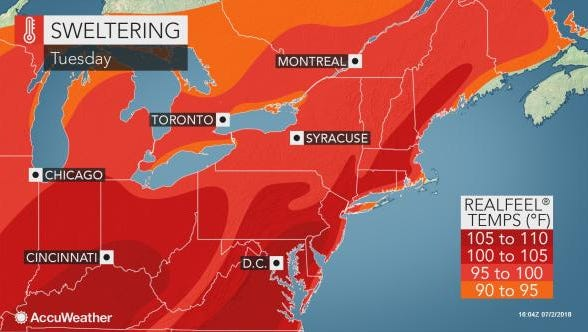 Tuesday is sweltering, according to AccuWeather
