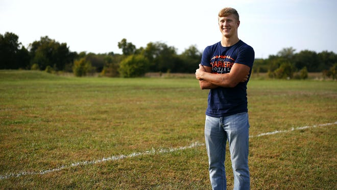 Ben Friend is a home-schooled senior who plays for the Lighthouse Christian Chargers football team, a side comprised entirely of home-schooled athletes. Friend, who plays running back and linebacker, posed for a portrait at the Chargers practice field in Springfield on Sept. 22.