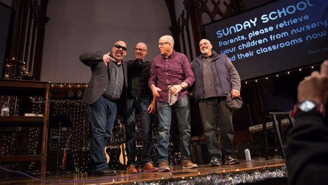 Pastors Mike Ackerbauer, Senior Pastor Marlow Dunham, Terry Dunham, and Frank Gallo had their heads shaved after over $10,000 was raised for Changepoint Church's Christmas House Event. Pastors of Changepoint Church agreed to shave their heads on stage at the church in Poughkeepsie, Dec. 4, 2016