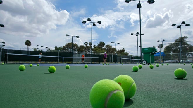 The Phoenix Tennis Center Saturday, April 25, 2015 in Phoenix, Ariz. The recently completed upgrades include newly resurfaced courts, new lighting new shade canopies with seats between courts and landscaping.