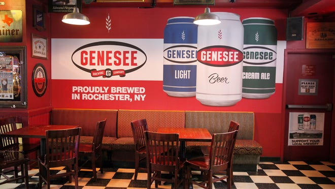 Salinger's Bar on East Avenue now features a mural on one of their back walls of the new branding for all of the Genesee beer varieties.