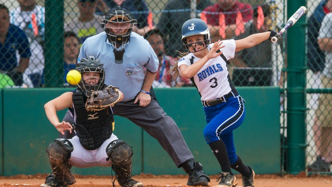 Jay High School Royals Michaela Stewart connects with the ball during the game against Snead Pirates in the FHSAA Softball State Semi-final played at Historic Dodgertown in Vero Beach, FL on Wednesday.