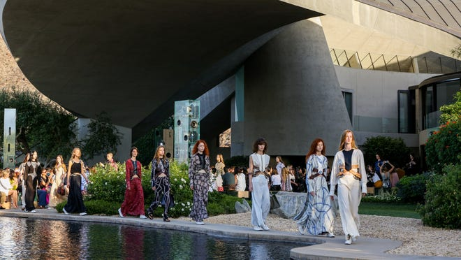 Models walk the runway at the Louis Vuitton Cruise Show at the Bob and Dolores Hope Estate on Wednesday May 6 in Palm Springs. (Photo by Rich Fury/Invision/AP)