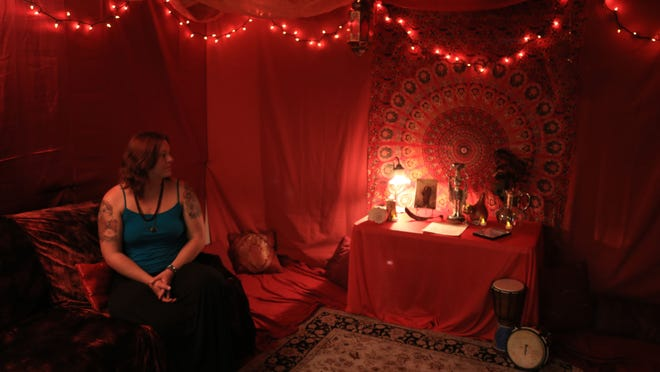 Gypsy Jean sits in the Red Tent at Gypsy's Corner on Main Street in Cedar City.