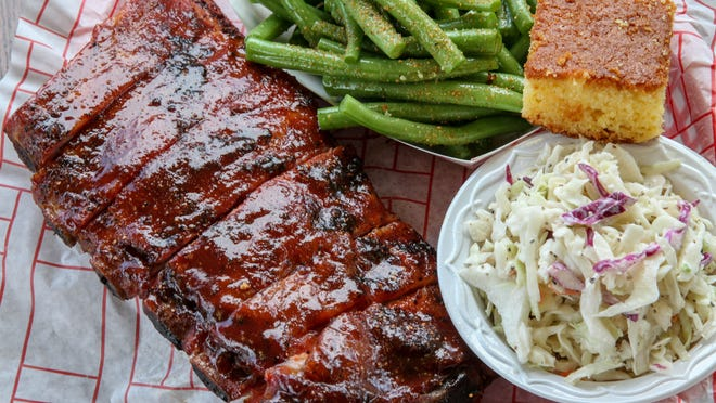 St. Louis ribs are dry-rubbed, slow-smoked and finished with house barbecue sauce at Local Smoke BBQ in Neptune City.