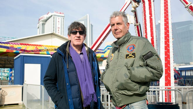 Chris Bourdain and Anthony Bourdain filming Parts Unknown in Atlantic City Jan. 23.