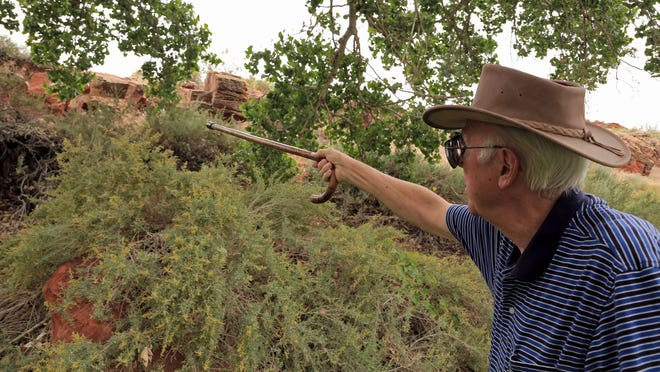 R. Wayne Pace, director of community service for the Dixie Encampment Chapter of the Sons of Utah Pioneers, points out out a possible route for the trail to the sandstone quarry at the Dixie Red Hills Golf Club in St. George.