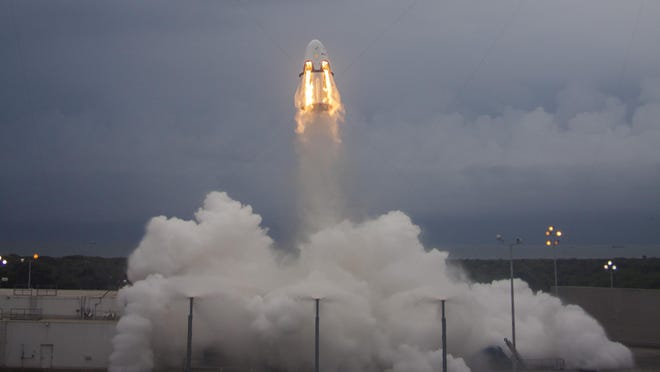 A prototype SpaceX Crew Dragon capsule rocketed from Cape Canaveral Air Force Station during a pad abort test on May 6.