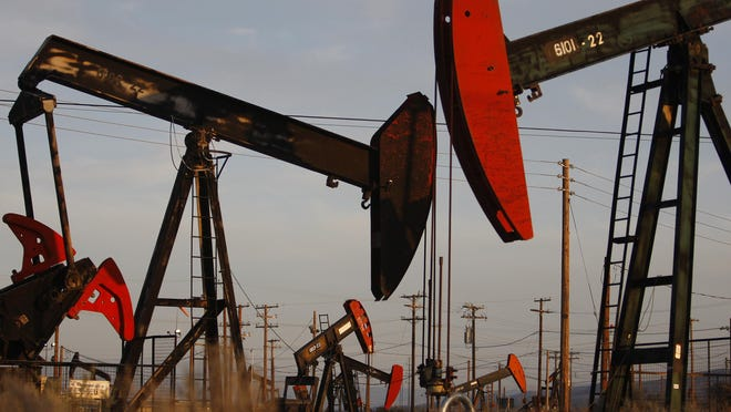 Getty ImagesPump jacks and wells are seen in an oil field on the Monterey Shale formation using hydraulic fracturing, or fracking, in 2014 near McKittrick, Calif. Proponents of fracking say that the expansion of petroleum extraction is good for the economy and security by developing more domestic energy sources and increasing gas and oil exports.