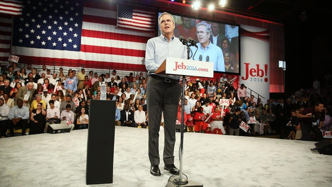 MIAMI, FL - JUNE 15: Former Florida Governor Jeb Bush announces his plan to seek the Republican presidential nomination during an event at Miami-Dade College - Kendall Campus on June 15 , 2015 in Miami, Florida. Bush joins a list of Republican candidates to announce their plans on running against the Democrats for the White House. (Photo by Joe Raedle/Getty Images)