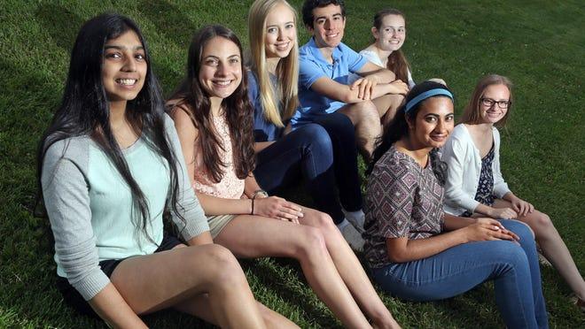 Horace Greeley High's seven valedictorians, from left, Riya Verma, Amanda Rota, Elizabeth Hart, Michael Doppelt, Bernadette Grant, Divya Gopinath, and Jen Semler.
