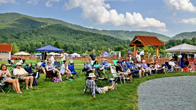 The afternoon crowd at the Music for Mountains festival on Saturday. The festival was created to raise funds to fight the Atlantic Coast Pipeline.