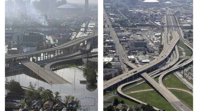 ADVANCE FOR USE FRIDAY, AUG. 21, 2015 AND THEREAFTER - This combination of Aug. 30, 2005 and July 29, 2015 photos shows downtown New Orleans floolded by Hurricane Katrina and the same area a decade later. New Orleans has grown since Katrina but is still smaller than before the storm. Estimated population in 2014 was 384,320 compared to 494,294 in 2005. In 2014, the city climbed back into the nation's 50 most populous cities for the first time since Katrina. (AP Photo/David J. Phillip)
