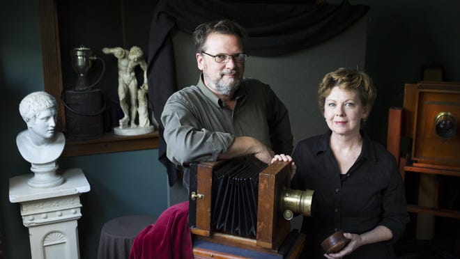 Mark Osterman and France Scully Osterman in their home studio, where they make photographs the old-fashioned way.