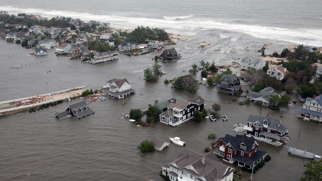 Flooding on the New Jersey shore caused by superstorm Sandy as seen on Oct. 30, 2012.