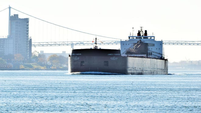 The James R. Barker, a 1,000 foot freighter that is owned by the Interlake Steamship Company is upbound on the Detroit River.