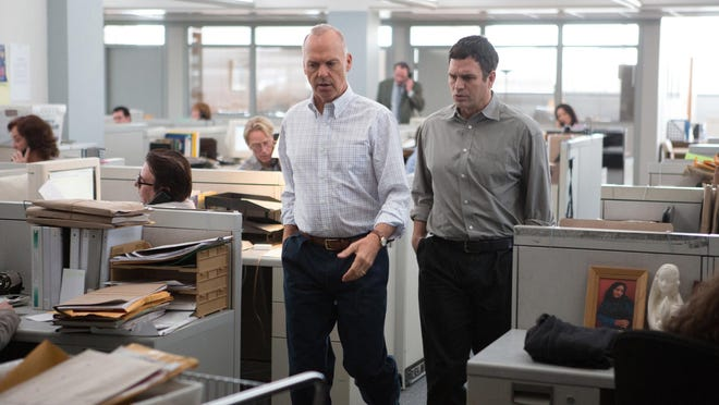 """Michael Keaton, left, as Walter """"Robby"""" Robinson and Mark Ruffalo as Michael Rezendes are seen in """"Spotlight."""""""