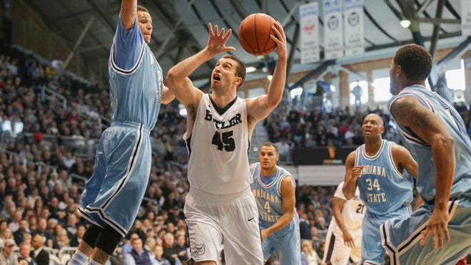 Butler's Andrew Chrabascz hits a shot against Indiana State at Hinkle Fieldhouse, Dec. 5, 2015. The Bulldogs won 85-71.