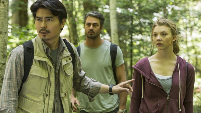 "Yukiyoshi Ozawa, from left, Taylor Kinney and Natalie Dormer star in ""The Forest."""