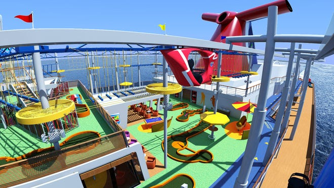 This undated rendering provided by Carnival Cruise Line shows SkyRide, a new attraction that will be onboard the Carnival Vista ship when the new vessel launches this spring. SkyRide lets guests cycle on bikes suspended from an 800-foot-long track 20 feet above the top deck and 150 feet above the water. Carnival Vista will be Carnival Cruise Line's largest ship.