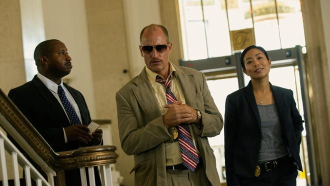 """Terence Rosemore, Woody Harrelson and Michelle Ang in """"Triple 9."""""""