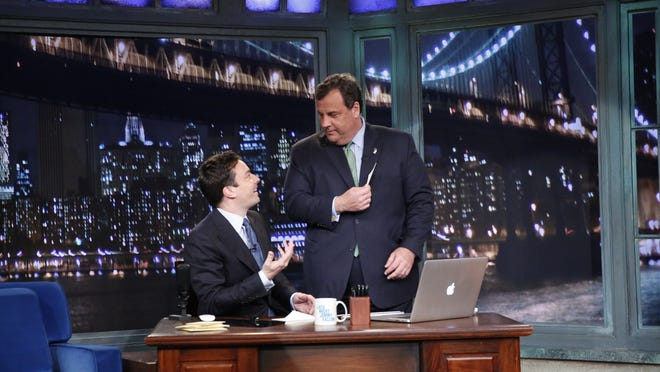 LATE NIGHT WITH JIMMY FALLON -- Episode 925 -- Pictured: (l-r) Jimmy Fallon, Chris Christie.  HANDOUT Photo by Lloyd Bishop, NBC ORG XMIT: Season:5 [Via MerlinFTP Drop]