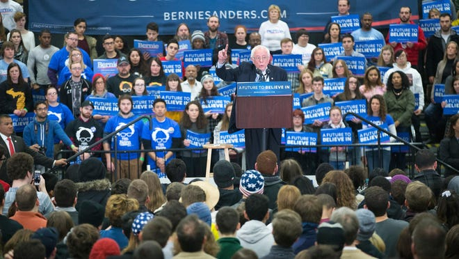 Democratic presidential candidate Senator Bernie Sanders (D-VT) speaks to guests during a rally at Macomb Community College on March 5, 2016 in Warren, Michigan. Voters in Michigan will go to the polls on March 8 to vote in their state's primary.