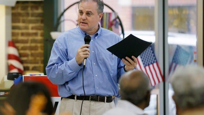 U.S. Sen. Mark Pryor, D-Ark., in an Arkadelphia, Ark., restaurant Tuesday, Oct. 28, 2014. Democrat Pryor faces a challenge from Republican U.S. Rep. Tom Cotton in the Nov. 4 election. (AP Photo/Danny Johnston) ORG XMIT: ARDJ105