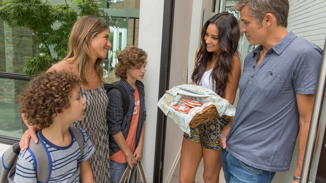 """Visalia's Caleb Brown, Jennifer Aniston, Brandon Spink, Shay Mitchell and Timothy Olyphant in """"Mother's Day."""""""