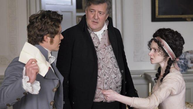 "Xavier Samuel, from left, Stephen Fry and Jenn Murray are seen in ""Love & Friendship."""