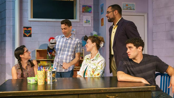 """Starring in """"Hand to God"""" at Kitchen Theatre are, from left, Montana Lampert Hoover, Karl Gregory, Erica Steinhagen, Aundre Seals and Michael Patrick Trimm."""