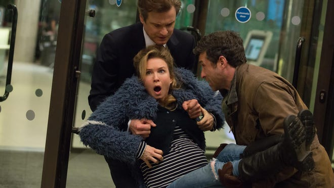 "Renee Zellweger, foreground center, Patrick Dempsey, right, and Colin Firth star in ""Bridget Jones's Baby."""