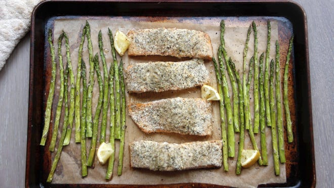 A sheet-pan supper of salmon and asparagus in Coronado, Calif., a recipe by Melissa d'Arabian.