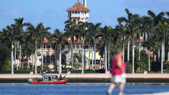 The Mar-a-Lago Resort is seen where President Donald Trump is hosting Japanese Prime Minister Shinzo Abe on Feb. 11 in West Palm Beach. The two were scheduled to play golf as well as discuss trade issues. Demonstrations were planned to take place at the estate today.