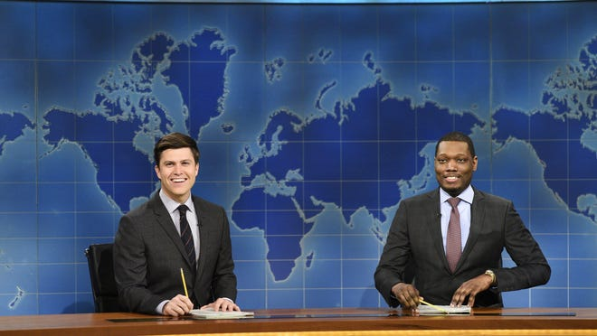 """Colin Jost and Michael Che anchor the """"Weekend Update"""" segment of """"Saturday Night Live."""" Four episodes of """"Saturday Night Live: Weekend Update"""" will air at 9 p.m. Thursdays starting Aug. 10."""