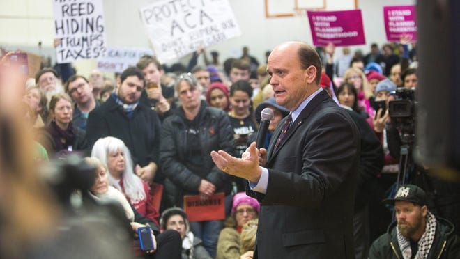 23rd District Representative Tom Reed speaks to residents during a town hall meeting at the Southside Community Center in Ithaca on March 11.