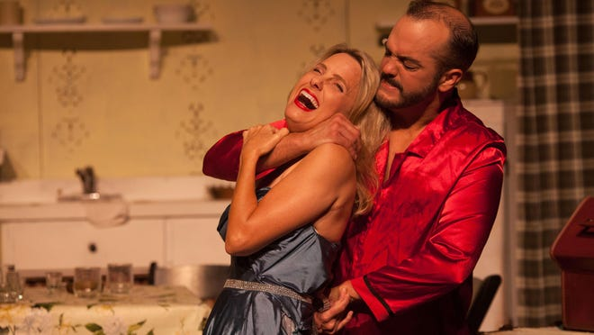 """Things get heated throughout Blanche (Erika Stone) and (Ken Catullo) Stanley's confrontations in """"A Streetcar Named Desire,"""" opening this weekend at Theatre Tallahassee."""